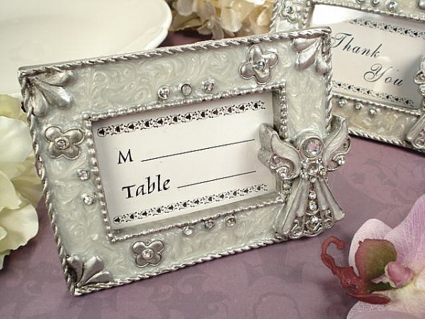 CLEARANCE White Epoxy Angel Placecard Frame baby shower favors