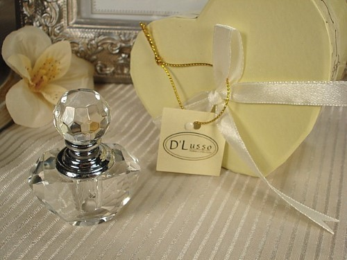 Mini Crystal Perfume Bottle In Satin Lined Heart Box200  Weddings