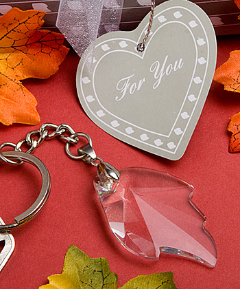 Crystal Leaf Key Chain Favors Weddings