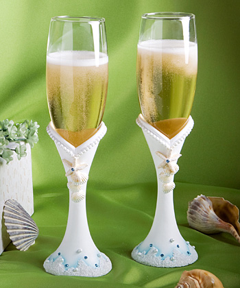 Beach Themed Champagne Flutes200  Weddings