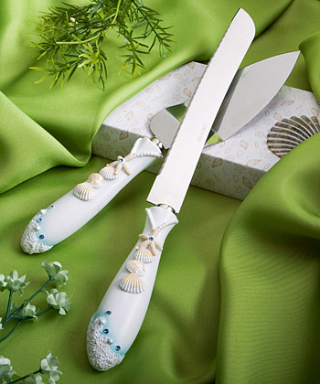 Beach Themed Wedding Cake Knife And Server Setwholesale/favors_2014/2417.jpg Wedding Supplies