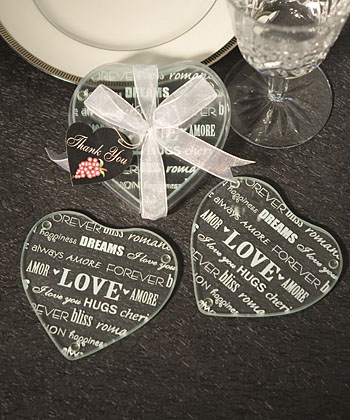 104 Heart Glass Coaster Favors Set Of 2200 Weddings