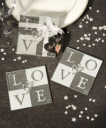 Love Glass Coasters (Set Of 2)wholesale/favors_2014/3975.jpg Wedding Supplies