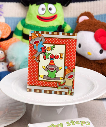 Cheery Sock Monkey Picture - Place Card Frames baby shower favors
