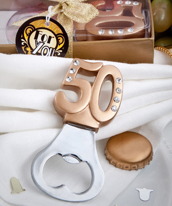 50th Anniversary Golden Bottle Cap Openers200  Weddings