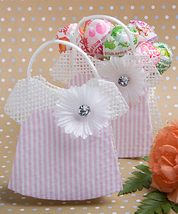Pink - White Mesh Baby Jumper Bag baby shower favors