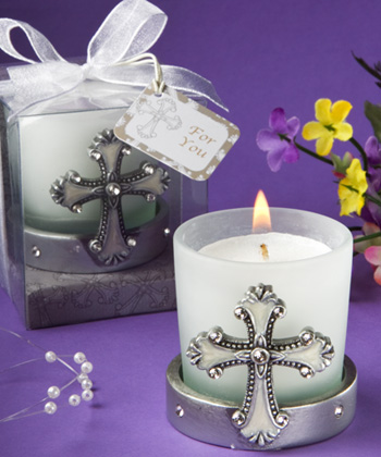 Regal Favor Cross Themed Candle Holders baby shower favors