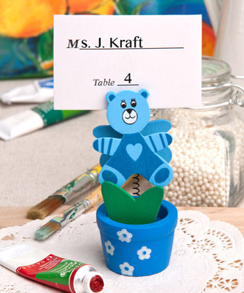 Blue Teddy Bear Flower Pot Place Card - Photo Holder baby shower favors