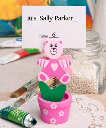 Pink Teddy Bear Flower Pot Place Card - Photo Holder baby shower favors