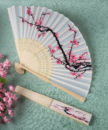 Delicate Cherry Blossom Silk Folding Fan Favors144 Weddings