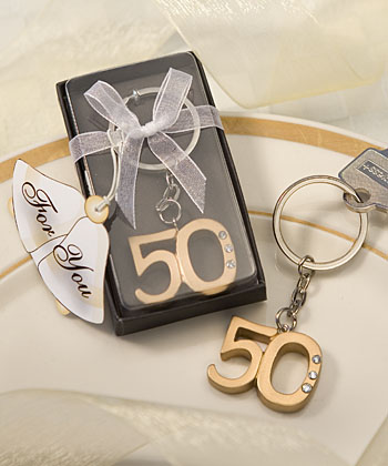 50th Anniversary Key Ring Favorswholesale/favors_2014/6443.jpg Wedding Supplies