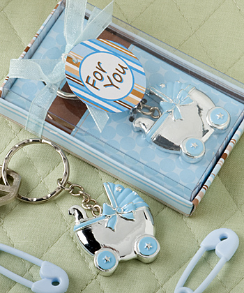 Blue Baby Carriage Key Chains baby shower favors