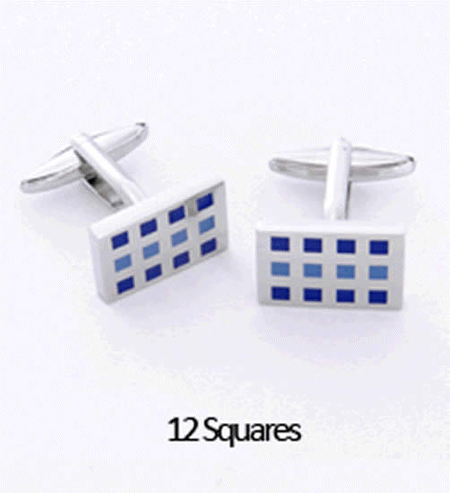 12 Squares Cuff Links Personalized with Box Weddings