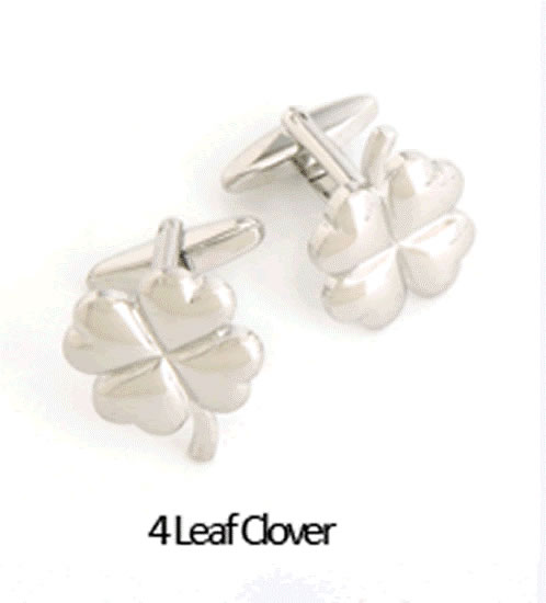 4 Leaf Clover Cuff Links Personalized with Box Weddings