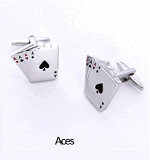 Aces Cuff Links Personalized with Boxwholesale/gc658_aces.jpg Wedding Supplies