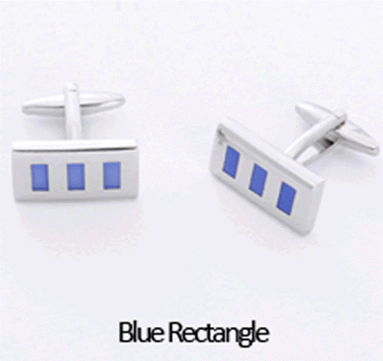 Blue Rectangle Cuff Links Personalized with Box Weddings