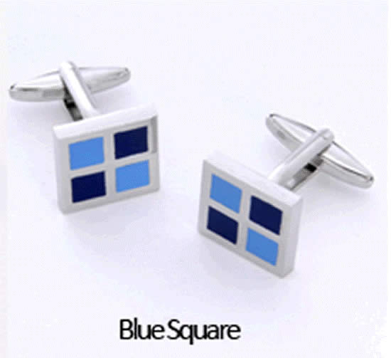 Blue Square Cuff Links Personalized with Box Weddings