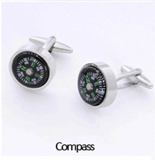 Compass Cuff Links Personalized with Box Weddings