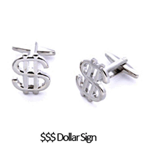 Dollar Sign Cuff Links Personalized with Box  Weddings