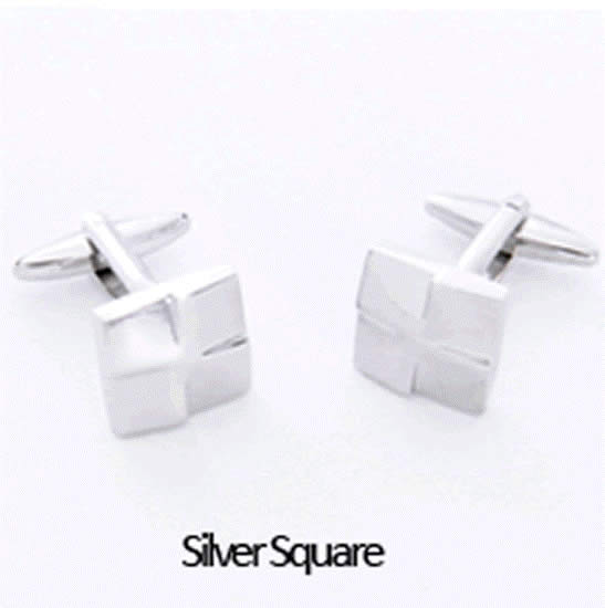 Silver Squares Cuff Links Personalized with Box  Weddings