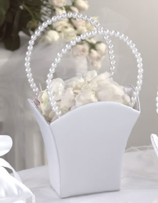 Pearl Flower Girl Basket White Wedding Favors Depot