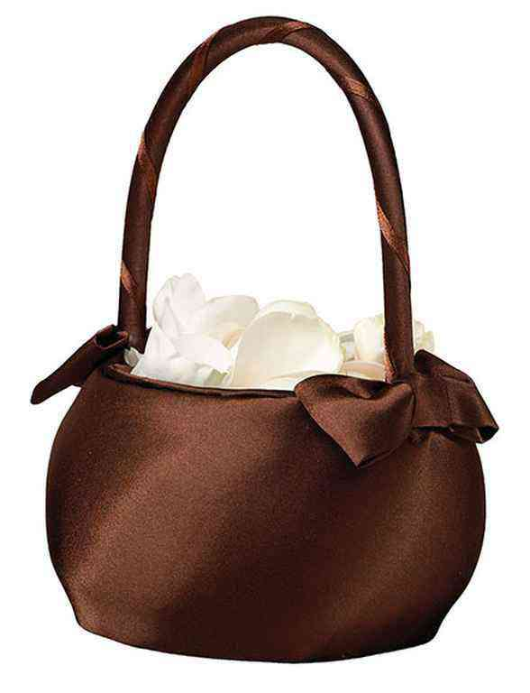 Satin Flower Girl Basket Brownwholesale/lrFB410BR.jpg Wedding Supplies