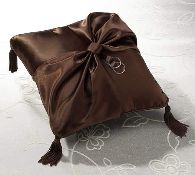 Chocolate Brown Satin Ring Pillow200  Weddings