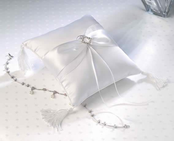 CLEARANCE Elegant White Satin Pillow with Diamond200  Weddings