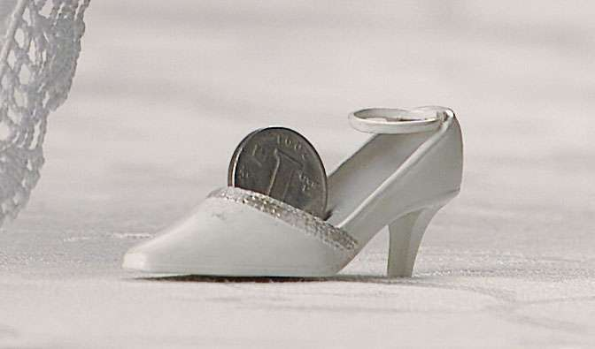 REAL Sixpence Coin in a Bride Shoe for Good Luck Weddings