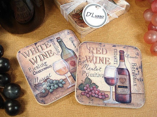 CLEARANCE Antique White Wine Wooden Cork Coaster Setwholesale/wc12.jpg Wedding Supplies