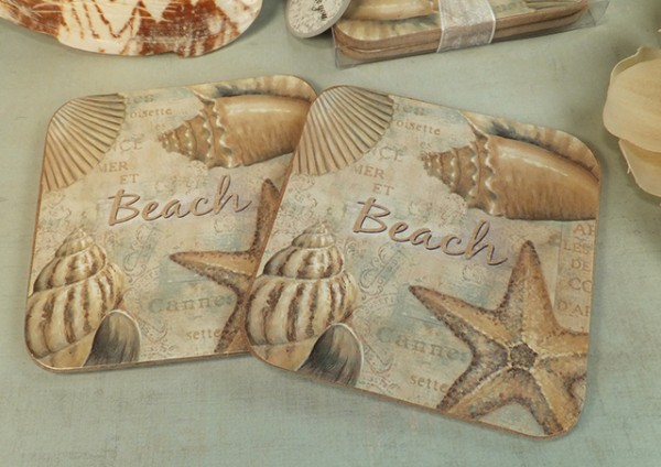 CLEARANCE Beach Design 2 Piece Wood Cork Coaster Set200  Weddings