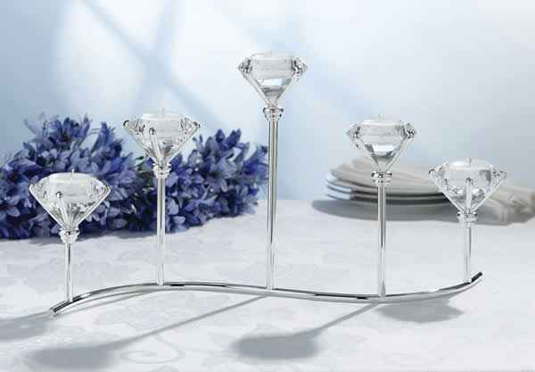 5 Candle Diamond Tealight Candle Holders Weddings