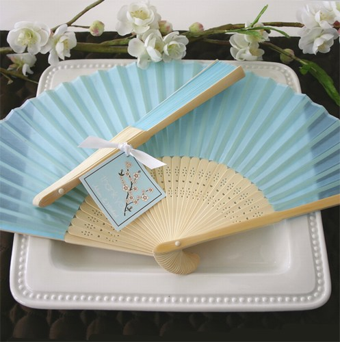 Bridal Silk Down The Aisle Fan - Blue200  Weddings