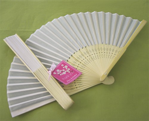 Wedding Day Bridal Silk Fan - White200  Weddings