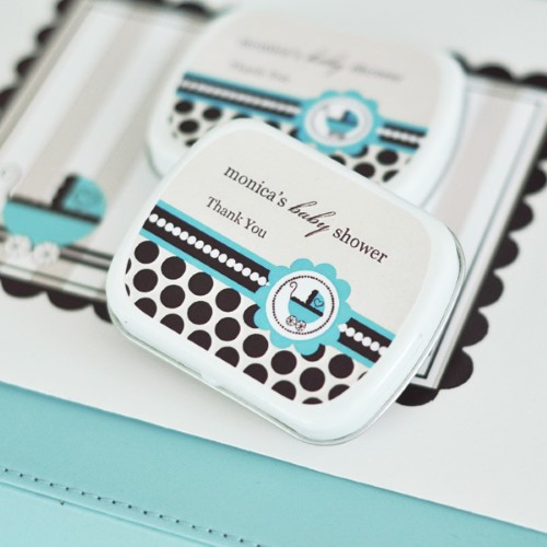Personalized Mint Tins - Blue Baby Shower baby shower favors