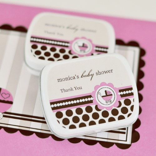 Personalized Mint Tins - Pink Baby - Wholesale baby shower favors