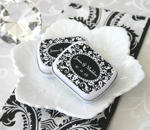Damask Mint Favor Tins Weddings