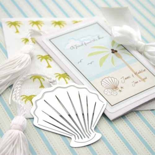 A Jewel From the Sea Seashell Bookmark Favors  Weddings