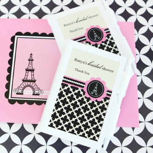 Personalized Notebook Favors - Parisian Party  - Wholesale200  Weddings
