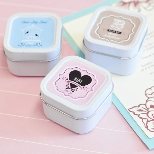 Vintage Baby Personalized Square Candle Tins  - Wholesale baby shower favors