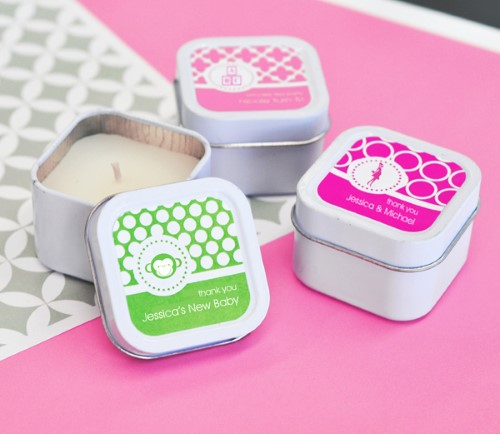 MOD Pattern Baby Square Candle Tins - Wholesale baby shower favors