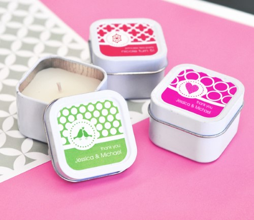 MOD Pattern Theme Square Candle Tins - Wholesale  Weddings