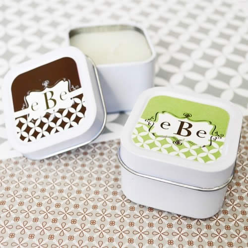 Monogram Personalized Square Candle Tins Weddings