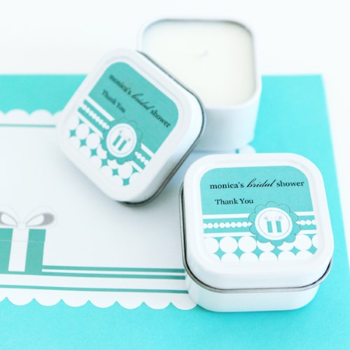 Personalized Square Candle Tins - Something Blue  - Wholesale  Weddings
