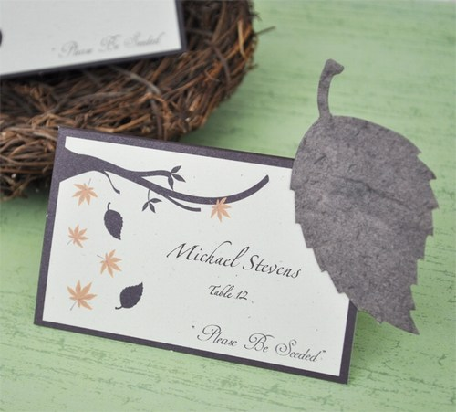 Leaf Plantable Seed Place Cards Weddings