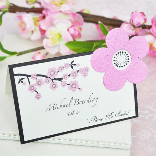 Cherry Blossom Plantable Seed Place Cards Weddings