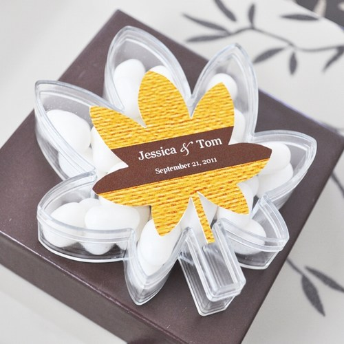 Fall for Love Leaf Acrylic Themed Favor Boxes  Weddings