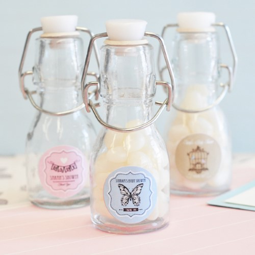 Vintage Baby Personalized Mini Glass Bottles  - Wholesale baby shower favors