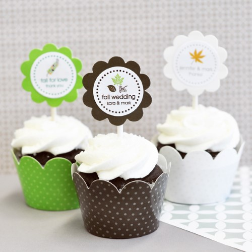 24 Fall / Autumn Themed Cupcake Wrappers + Cupcake Toppers  Weddings