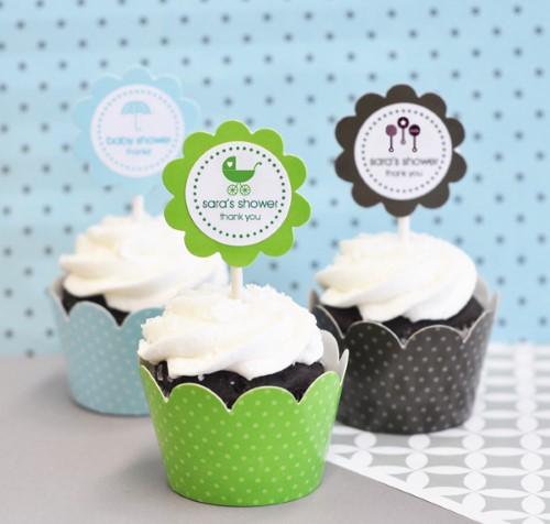 24 Baby Silhouette Cupcake Wrappers + Cupcake Toppers baby shower favors